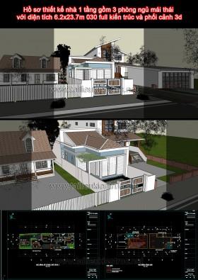 Hồ sơ thiết kế nhà 1 tầng gồm 3 phòng ngủ mái thái với diện tích 6.2x23.7m 030 full kiến trúc và phối cảnh 3d