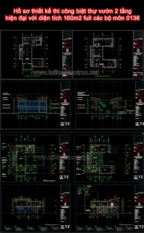 Hồ sơ thiết kế thi công biệt thự vườn 2 tầng hiện đại với diện tích 160m2 full các bộ môn 0136