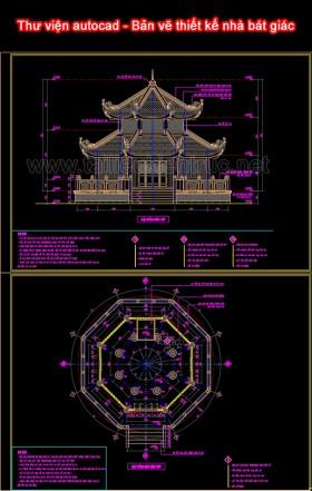 Thư viện autocad - Bản vẽ thiết kế nhà bát giác