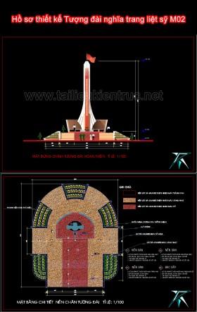 Hồ sơ thiết kế Tượng đài nghĩa trang liệt sỹ M02