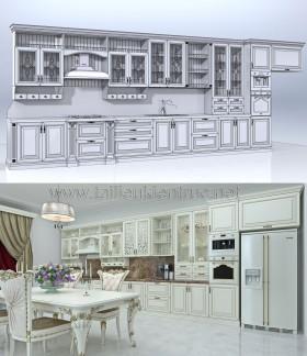 File 3d thiết kế về bếp phong cách tân cổ điển miễn phí tải về