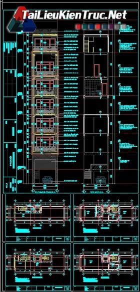 Hồ sơ thiết kế bản vẽ nhà phố 8 Tầng có thang máy diện tích 4.4x15.3m - 153 full kiến trúc, kết cấu và điện nước