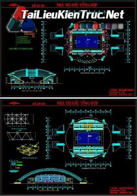 Đồ án K9 kiến trúc sư - Đồ án nhà thi đấu tổng hợp gồm toàn bộ bản vẽ autocad