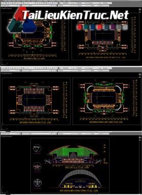 Đồ án K9 kiến trúc sư - Đồ án nhà thi đấu có mái che gồm toàn bộ bản vẽ autocad MS10