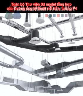Toàn bộ Thư viện 3d model tổng hợp các Đường ống kỹ thuật nổi trần, tường P4