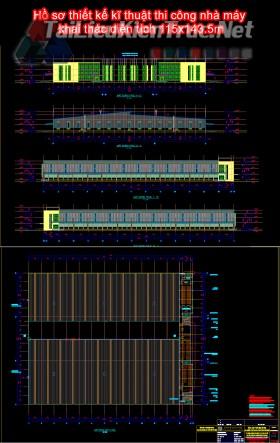 Hồ sơ thiết kế kĩ thuật thi công nhà máy khai thác diện tích 115x143.5m