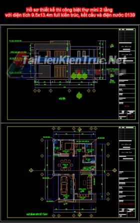 Hồ sơ thiết kế thi công biệt thự mini 2 tầng với diện tích 9.5x13.4m full kiến trúc, kết cấu và điện nước 0139
