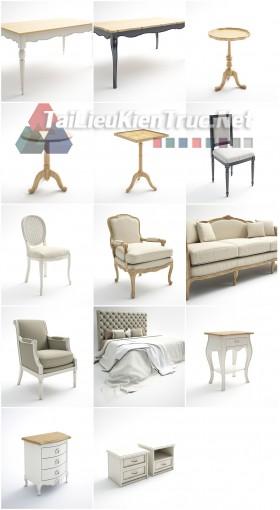 Thư viện 3D tân cổ điển Tổng hợp 14 Model đồ đạc bàn ghế, tủ, kệ sofa download
