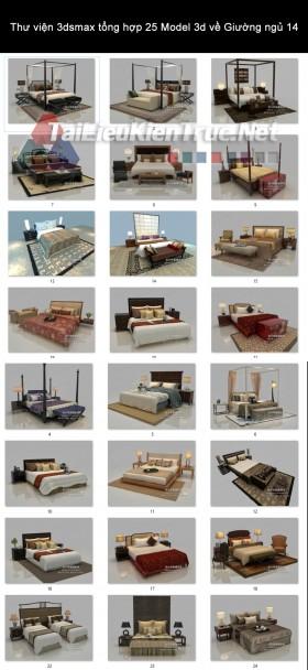 Thư viện 3dsmax tổng hợp 25 Model 3d về Giường ngủ 14
