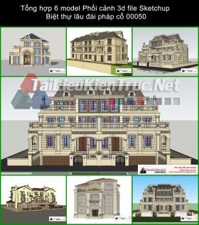 Tổng hợp 6 model Phối cảnh 3d file Sketchup Biệt thự lâu đài pháp cổ 00050