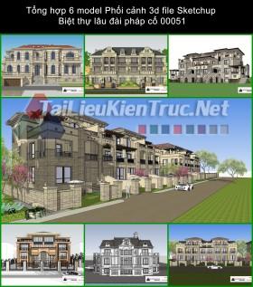 Tổng hợp 6 model Phối cảnh 3d file Sketchup Biệt thự lâu đài pháp cổ 00051