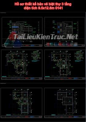 Hồ sơ thiết kế bản vẽ biệt thự 3 tầng  diện tích 9.5x12.6m 0141