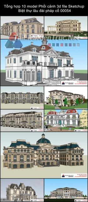 Tổng hợp 10 model Phối cảnh 3d file Sketchup Biệt thự lâu đài pháp cổ 00054