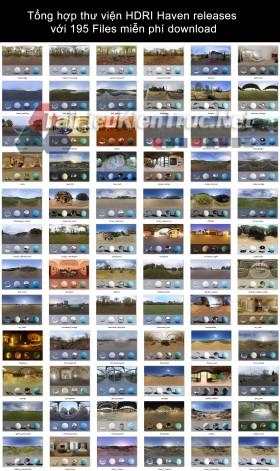 Tổng hợp thư viện HDRI Haven releases với 195 Files miễn phí download