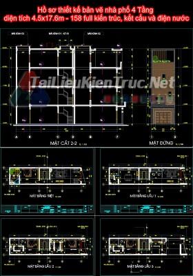 Hồ sơ thiết kế bản vẽ nhà phố 4 Tầng diện tích 4.5x17.6m - 158 full kiến trúc, kết cấu và điện nước