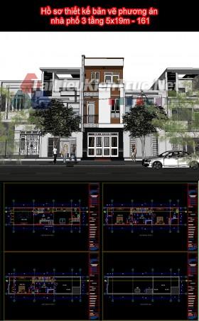 Hồ sơ thiết kế bản vẽ phương án nhà phố 3 tầng 5x19m - 161