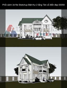 Phối cảnh 3d file Sketchup Biệt thự 2 tầng Tân cổ điển đẹp 00059