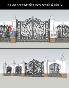 Thư viện Sketchup cổng tường rào tân cổ điển P2 Download