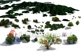 Thư viện photoshop Các loại Cây và núi tổng hợp 042 với file PSD chất lượng cao