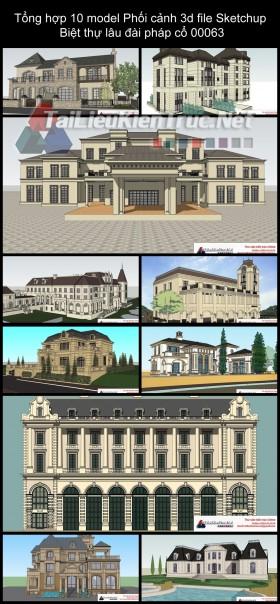 Tổng hợp 10 model Phối cảnh 3d file Sketchup Biệt thự lâu đài pháp cổ 00063