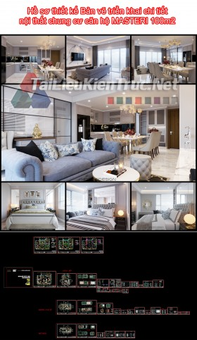 Hồ sơ thiết kế Bản vẽ triển khai chi tiết nội thất chung cư căn hộ MASTERI 100m2