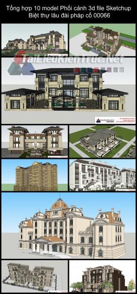 Tổng hợp 10 model Phối cảnh 3d file Sketchup Biệt thự lâu đài pháp cổ 00066