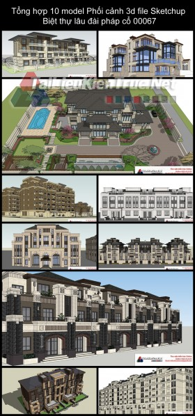 Tổng hợp 10 model Phối cảnh 3d file Sketchup Biệt thự lâu đài pháp cổ 00067
