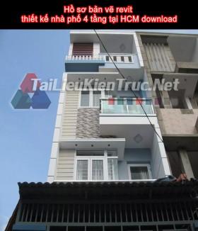 Hồ sơ bản vẽ revit thiết kế nhà phố 4 tầng tại HCM download