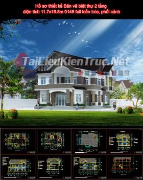Hồ sơ thiết kế Bản vẽ biệt thự 2 tầng diện tích 11.7x19.8m 0148 full kiến trúc, phối cảnh