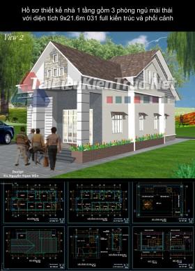 Hồ sơ thiết kế nhà 1 tầng gồm 3 phòng ngủ mái thái với diện tích 9x21.6m 031 full kiến trúc và phối cảnh