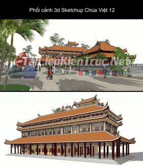 Phối cảnh 3d Sketchup Chùa Việt 12