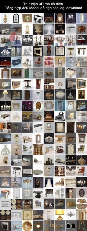 Thư viện 3D tân cổ điển  Tổng hợp 320 Model đồ đạc các loại download