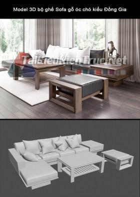 Model 3D bộ ghế Sofa gỗ óc chó kiểu Đồng Gia