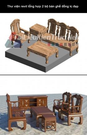 Thư viện revit tổng hợp 2 bộ bàn ghế đồng kị đẹp
