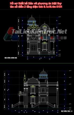 Hồ sơ thiết kế Bản vẽ phương án biệt thự tân cổ điển 2 tầng diện tích 9.1x18.4m 0151