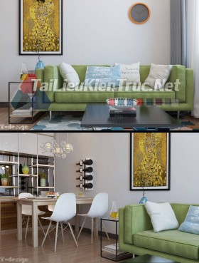 Phối cảnh 3d nội thất file Max phòng khách, bếp ăn 103 full download