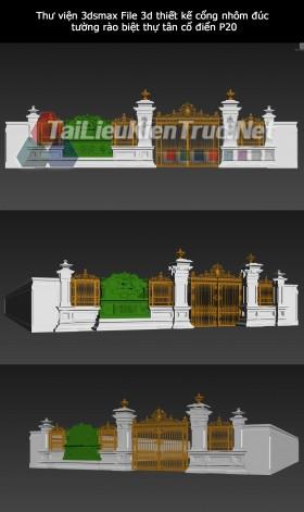 Thư viện 3dsmax File 3d thiết kế cổng nhôm đúc, tường rào biệt thự tân cổ điển P20