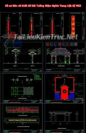 Hồ sơ Bản vẽ thiết kế Đài Tưởng Niệm Nghĩa Trang Liệt Sỹ M03