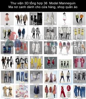 Thư viện 3D tổng hợp 36  Model Mannequin - Ma nơ canh dành cho cửa hàng, shop quần áo