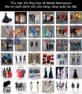 Thư viện 3D tổng hợp 36 Model Mannequin - Ma nơ canh dành cho cửa hàng, shop quần áo tiếp