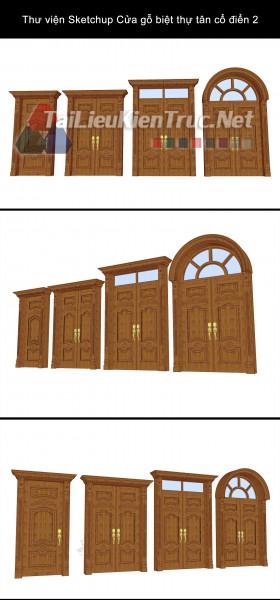 Thư viện Sketchup Cửa gỗ biệt thự tân cổ điển 2