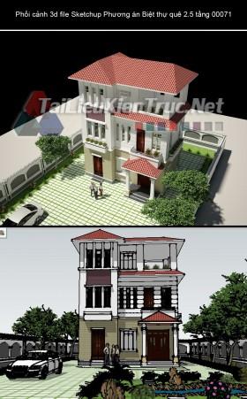 Phối cảnh 3d file Sketchup Phương án Biệt thự quê 2.5 tầng 00071