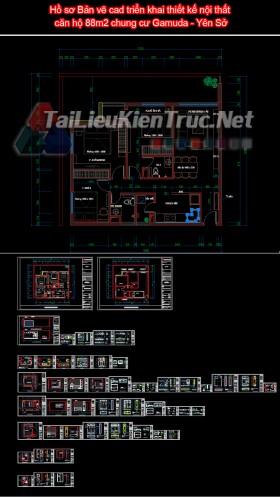 Hồ sơ Bản vẽ cad triển khai thiết kế nội thất căn hộ 88m2 chung cư Gamuda - Yên Sở