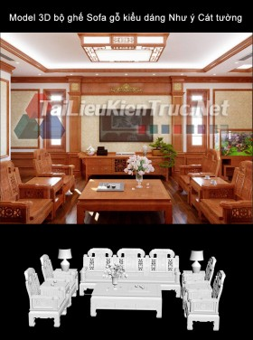 Model 3D bộ ghế Sofa gỗ kiểu dáng Như ý Cát tường
