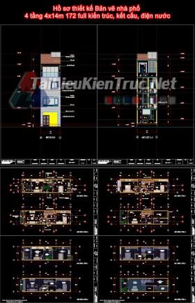 Hồ sơ thiết kế Bản vẽ nhà phố 4 tầng 4x14m 172 full kiến trúc, kết cấu, điện nước