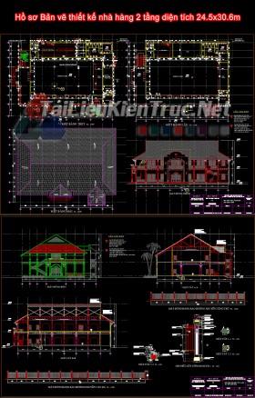 Hồ sơ Bản vẽ thiết kế nhà hàng 2 tầng diện tích 24.5x30.6m
