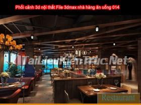 Phối cảnh 3d nội thất File 3dmax nhà hàng ăn uống 014