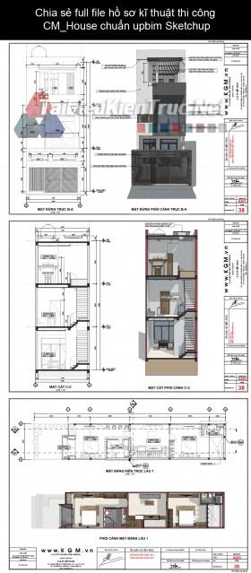 Chia sẻ full file hồ sơ kĩ thuật thi công CM_House chuẩn upbim Sketchup