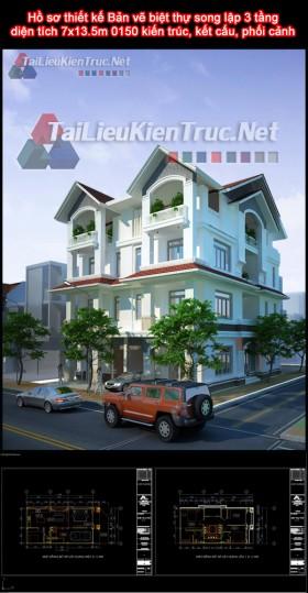 Hồ sơ thiết kế Bản vẽ biệt thự song lập 3 tầng diện tích 7x13.5m 0150 kiến trúc, kết cấu, phối cảnh