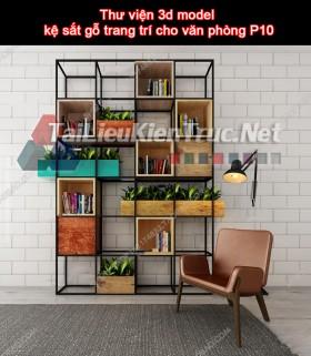 Thư viện 3d model kệ sắt gỗ trang trí cho văn phòng P10